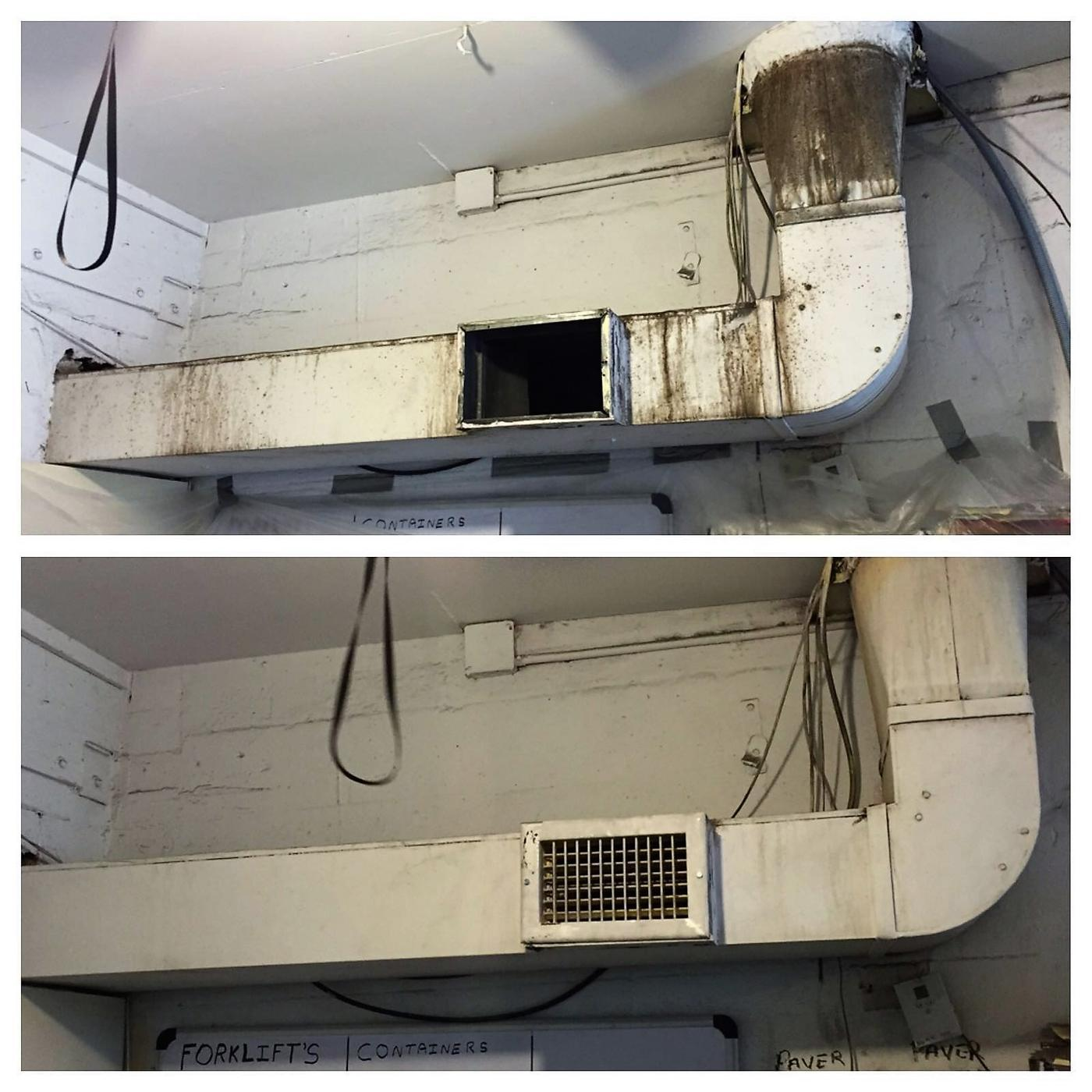mold removal and air duct cleaning before and after shots in Miramar, FL