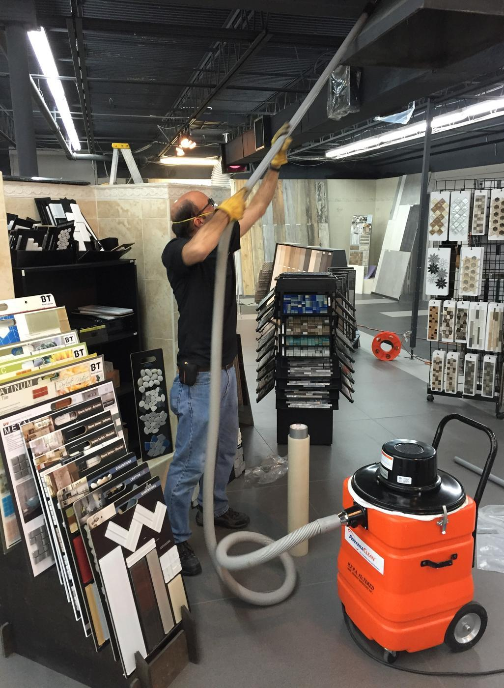 air duct cleaning in a tile distributor in Miramar, FL